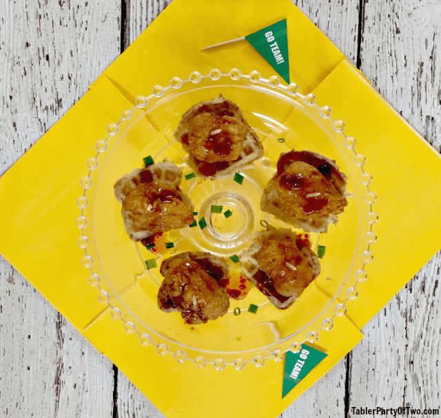 It's time for The Big Game football party! Mini Chicken and Waffles are just right for a snack. TablerPartyofTwo.com