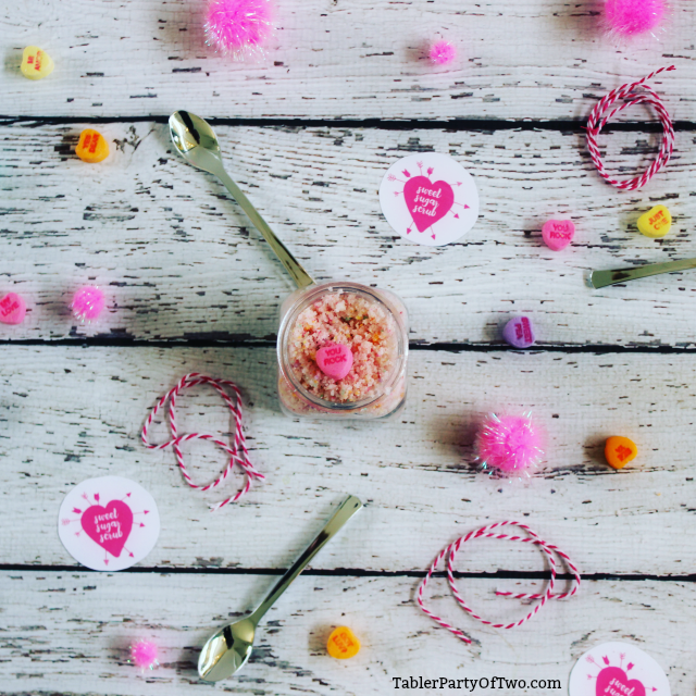 OMG! Conversation Hearts Sugar Scrub... so cute and super easy to make! TablerPartyofTwo.com