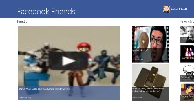Facebook Friends App für Windows 8