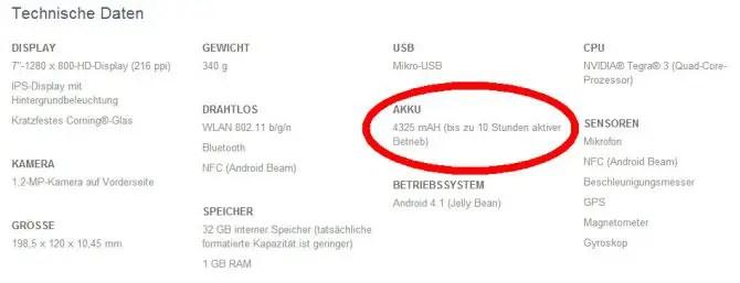 Google Nexus 7 Akkulaufzeit