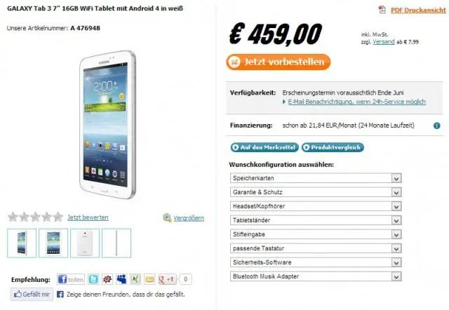 Samsung Galaxy Tab 3 Preis