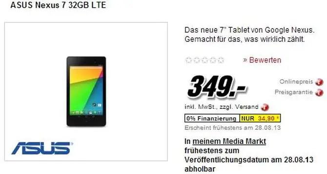 Nexus 7 mit LTE bei Media Markt