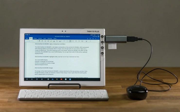 Lenovo Tab 4 10 Plus mit Tastatur und Maus
