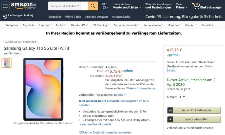 Samsung Galaxy Tab S6 Lite gelistet