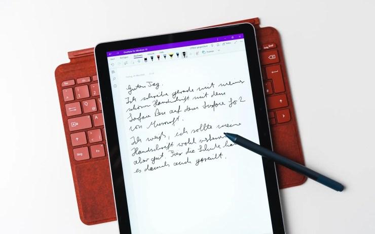 Microsoft Surface Go 2 handschriftliche Notizen