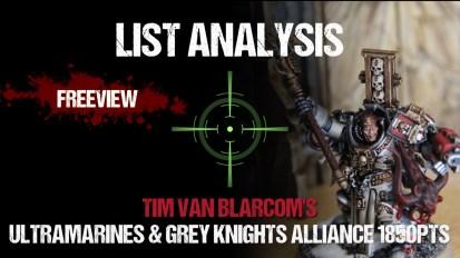 List Analysis: Tim's Ultramarines & Grey Knights Alliance 1850pts