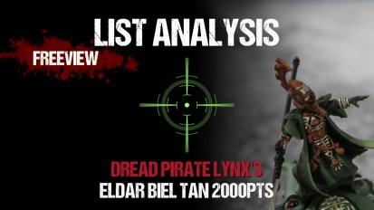 List Analysis: Dread Pirate Lynx's Eldar Biel Tan 2000pts
