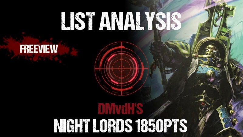 List Analysis: DMvdH'S Night Lords 1850pts