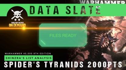 Warhammer 40,000 Data Slate: Shinzra's List Analysis – Spider's Tyranids 2000pts
