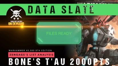 Warhammer 40,000 Data Slate: Zengage's List Analysis – Bone's T'au 2000pts