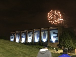 Fireworks over the Big Blue banner on Griswold