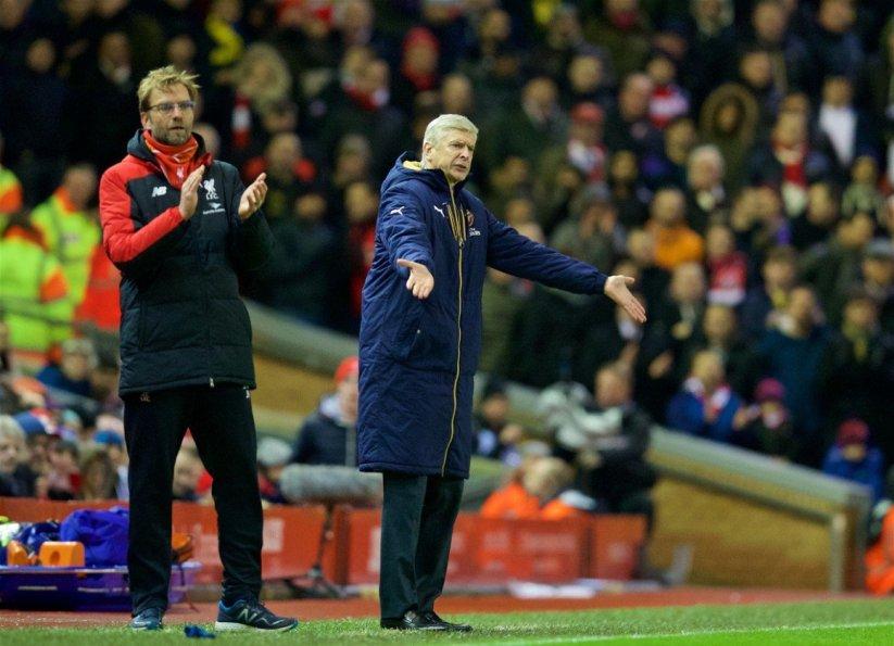 Wenger e Klopp Liverpool Arsenal