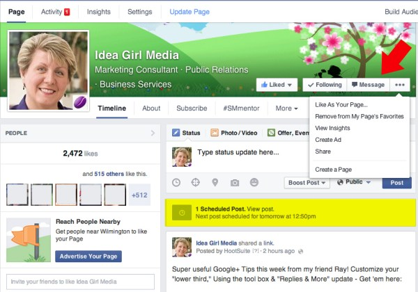Keri Jaehnig of Idea Girl Media provides examples for TabSite on how the direct message and scheduler features work on the new Facebook Page Layout 2014