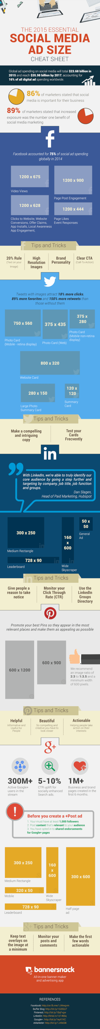 Social Media Ad Sizes Infographic 2015