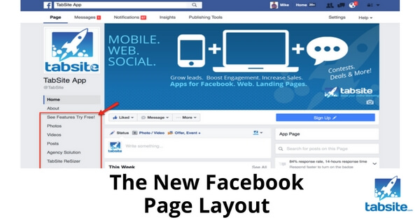 how to change page layout in facebook