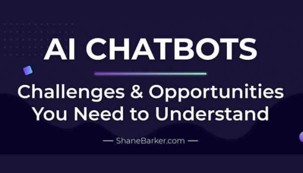 Infographic of challenges and benefits of AI chatbots.