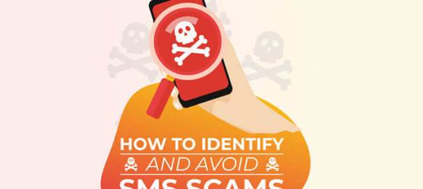How to Identify and Avoid SMS Scams infographic header.