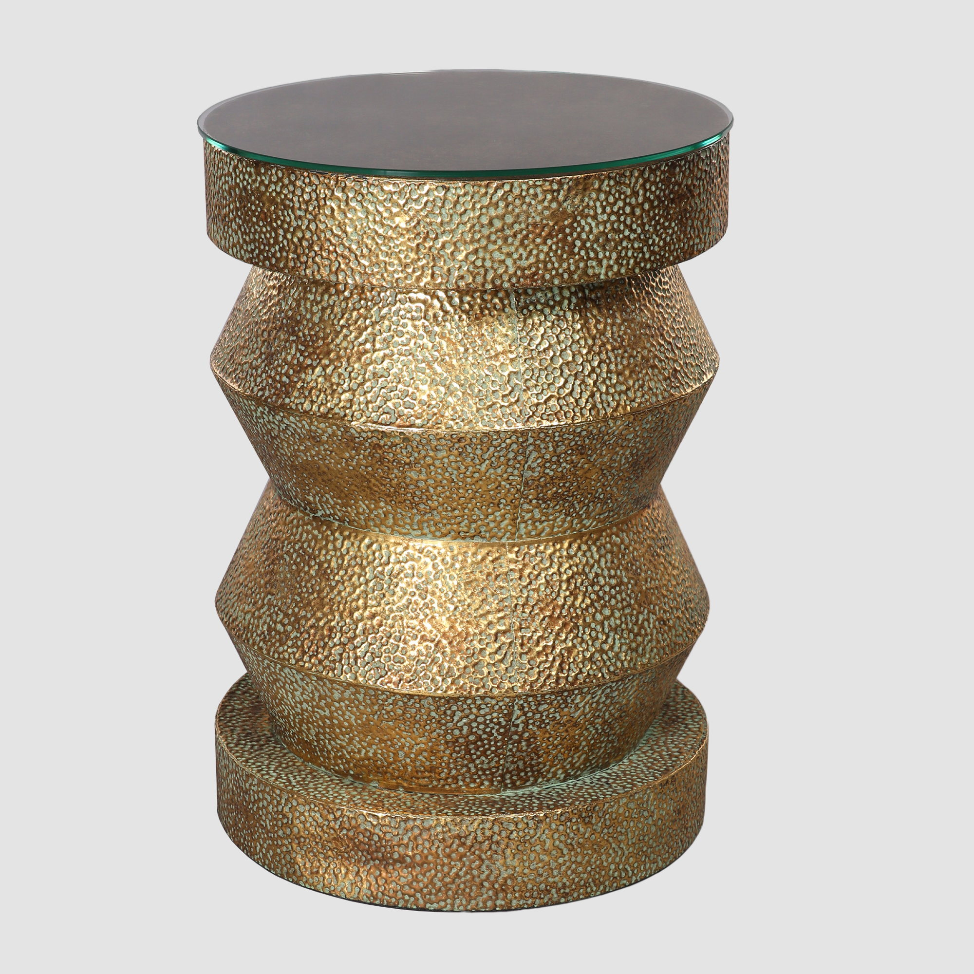 Aged Gold Metal Pedestal Table Town Country Event Rentals