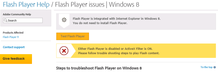 Message from Adobe Website informing you that Flash Player is already installed on Windows Server 2012 r2
