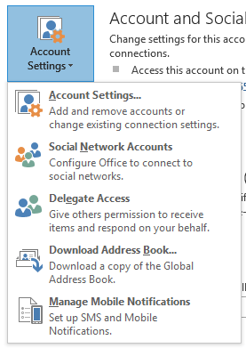 Outlook 2013 Account Settings Button