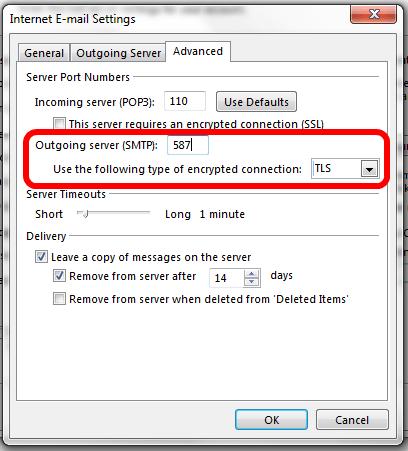 Outlook SMTP TLS Settings For Office 365