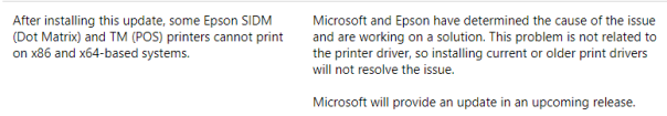 Microsoft confirmation of problems with Epson Printers after installing November 2017 security roll-up patches.