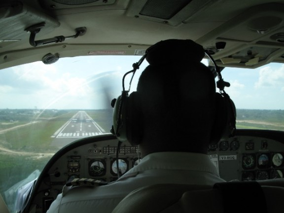 Landing at International airport belize