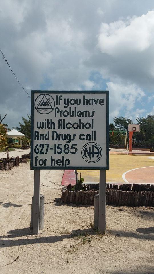 Alcoholics Anonymous san pedro sign taken by romantic travel belize