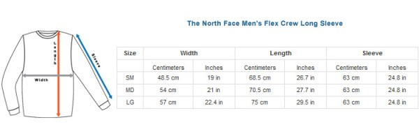sizing charts the north face - 750×240