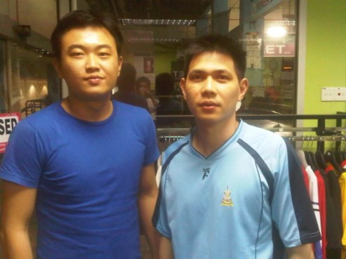Coach Andrew with former world number 1 Chew Choon Eng (MAS)