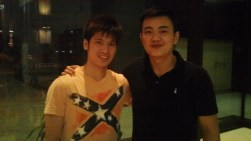 Coach Andrew with Singapore #1 mens singles player Derek Wong
