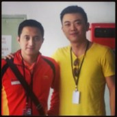 Coach Andrew Chang with Olympic and World Champion Ricky Subagja