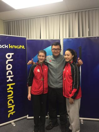 Coach Andrew Chang with U19 Girls Doubles Provincial Champion.
