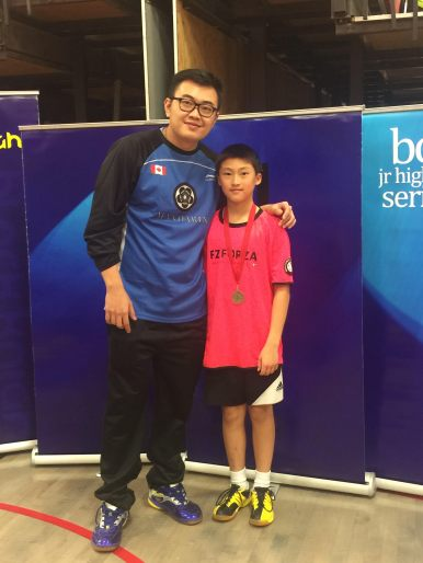 Coach Andrew Chang with U15 Boy's Singles Champion Jeffrey Liu.