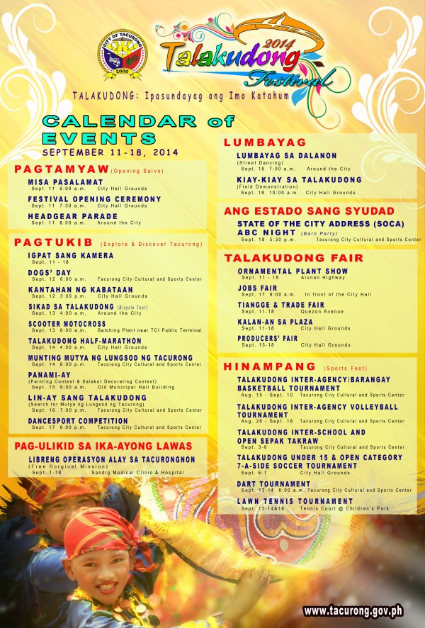 Talakudong Festival 2014 Calendar of Events. Please click the image for larger text fonts.  (Photo from www.tacurong.gov.ph)