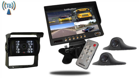 Wireless Rear-View System for RVs with 3 Cameras and Backup Monitor
