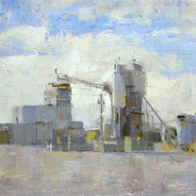 """Port Orange Cement Factory"" Oil on board. 8x16 inches"