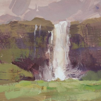 """""""The Seljalandsfoss Waterfall"""" Gouache on watercolor paper. 5.5x9 inches."""