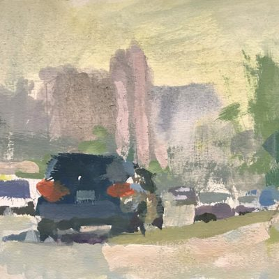 """""""Los Angeles Morning"""" Gouache on board. 5x8 inches"""