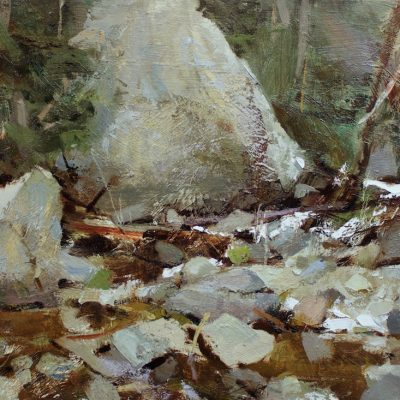 """""""Rocks of Cottonwood Creek"""" Oil on board 12x16 inches."""