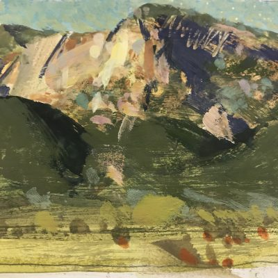 """""""Fillmore Mountains"""" Gouache on board. 4x5 inches"""