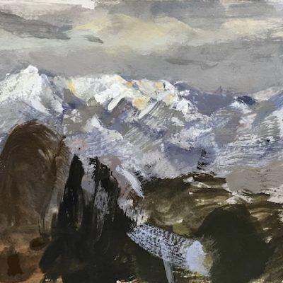 """Salt Lake City Mountains"" Gouache on paper. 5.5x10 inches"