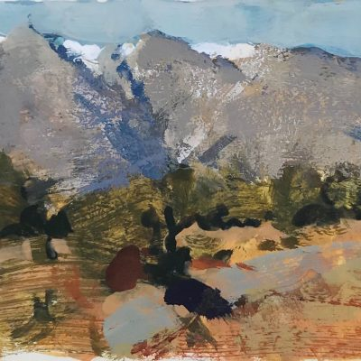"""""""Southern Utah Mountains"""" Gouache on board. 4x5 inches."""