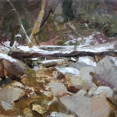"""""""Little Cottonwood Creek"""" Oil on board. 8x12 inches"""