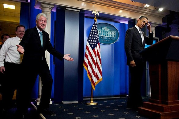 This is a wonderful picture of Bill Clinton and Obama (if it wasn't staged.)