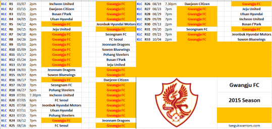 Gwangju have possibly the meanest, most random schedule in the league. So many long stretches of home games or away games.