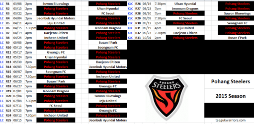 2015 POHANG STEELERS SCHEDULE