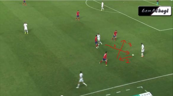 Uzbekistan player backpasses but the receiver passes straight to the onrushing Lee Jae Sung, who puts the ball right at KJC's feet