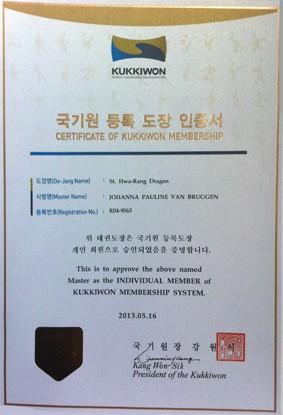 Certificate Of Kukkiwon Membership