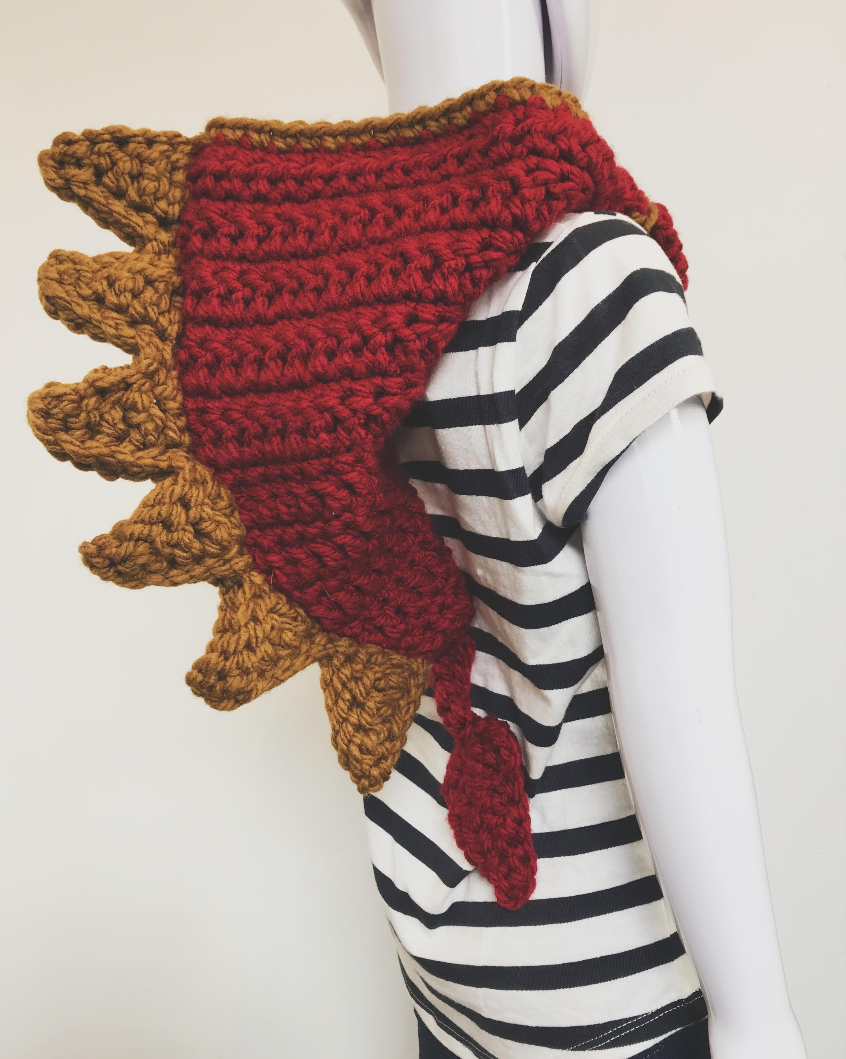 Crochet Dragon Cowl Back View